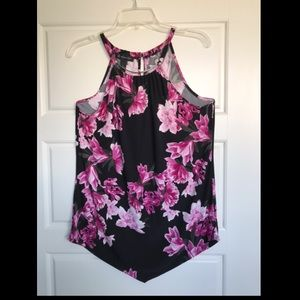 INC floral top with high neck silver neckline